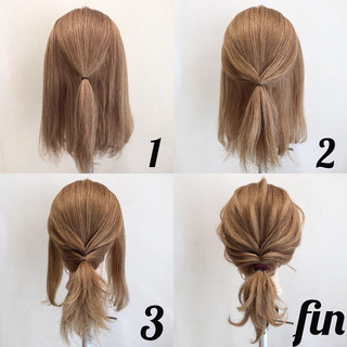 ポニーテール ナチュラル 簡単ヘアアレンジ ヘアアレンジ ヘアスタイルや髪型の写真・画像