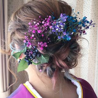 セミロング 成人式 ヘアアレンジ ハイトーン ヘアスタイルや髪型の写真・画像