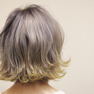 エアリー グラデーションカラー ボブ アッシュ ヘアスタイルや髪型の写真・画像 ヘアスタイルや髪型の写真・画像