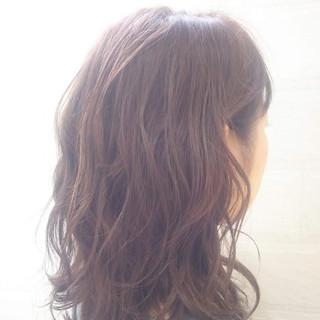 ピンクアッシュ かわいい ゆるふわ セミロング ヘアスタイルや髪型の写真・画像
