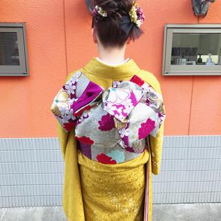 ヘアアレンジ ロング ナチュラル 成人式ヘア ヘアスタイルや髪型の写真・画像