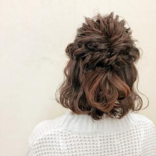 パーティ 編み込み 二次会 くるりんぱ ヘアスタイルや髪型の写真・画像 ヘアスタイルや髪型の写真・画像