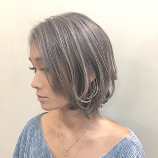 グラデーションカラー ハイライト ボブ ナチュラル ヘアスタイルや髪型の写真・画像