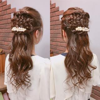 結婚式 ロング 編み込み エレガント ヘアスタイルや髪型の写真・画像