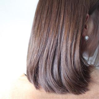 セミロング ナチュラル ラベンダーピンク グレージュ ヘアスタイルや髪型の写真・画像