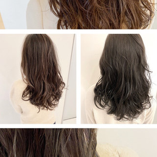 セミロング パーマ ナチュラルデジパ ナチュラル ヘアスタイルや髪型の写真・画像