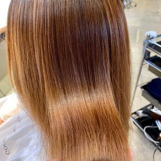 ナチュラル ストレート ロング 縮毛矯正 ヘアスタイルや髪型の写真・画像