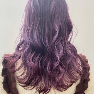 ロング 暗髪 ガーリー ピンクバイオレット ヘアスタイルや髪型の写真・画像