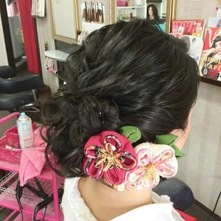 着物 ヘアアレンジ セミロング エレガント ヘアスタイルや髪型の写真・画像