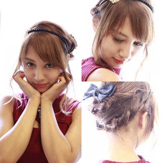 ショート フェミニン 外国人風 簡単ヘアアレンジ ヘアスタイルや髪型の写真・画像