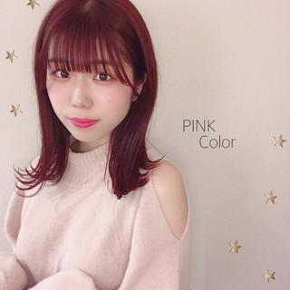 ミディアム ガーリー ピンク ラベンダーピンク ヘアスタイルや髪型の写真・画像