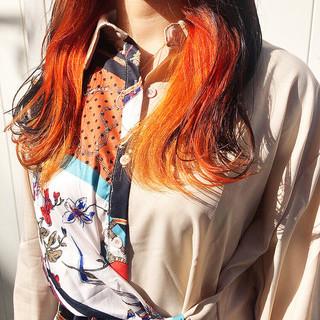 ロング ベリーショート インナーカラー ミニボブ ヘアスタイルや髪型の写真・画像