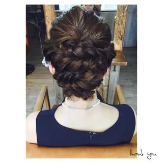 ショート 編み込み 簡単ヘアアレンジ 結婚式 ヘアスタイルや髪型の写真・画像