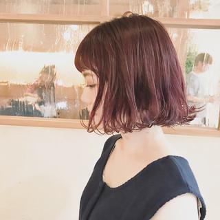 ピンク ガーリー 外ハネ ボブ ヘアスタイルや髪型の写真・画像