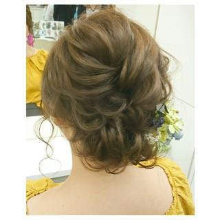 ヘアアレンジ 夏 結婚式 ミディアム ヘアスタイルや髪型の写真・画像