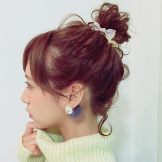 お団子 ルーズ ゆるふわ ヘアアレンジ ヘアスタイルや髪型の写真・画像