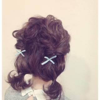 ヘアアレンジ ガーリー アップスタイル ショート ヘアスタイルや髪型の写真・画像