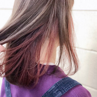 ピンク ボブ インナーカラーレッド グレージュ ヘアスタイルや髪型の写真・画像 ヘアスタイルや髪型の写真・画像
