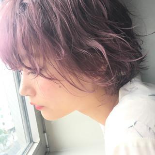 ボブ ピンク パープル フェミニン ヘアスタイルや髪型の写真・画像