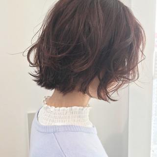 ピンク 愛され ガーリー ボブ ヘアスタイルや髪型の写真・画像