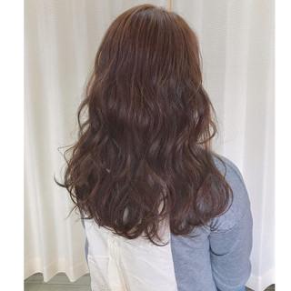 ガーリー ピンク 冬 セミロング ヘアスタイルや髪型の写真・画像