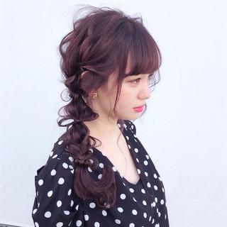 ガーリー 編み込み ロング 簡単ヘアアレンジ ヘアスタイルや髪型の写真・画像
