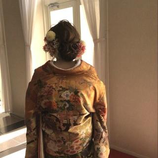 上品 着物 セミロング ブライダル ヘアスタイルや髪型の写真・画像