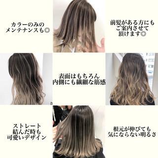 グラデーションカラー ミルクティーベージュ バレイヤージュ エアータッチ ヘアスタイルや髪型の写真・画像
