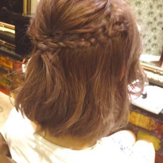 春 編み込み 大人かわいい ヘアアレンジ ヘアスタイルや髪型の写真・画像