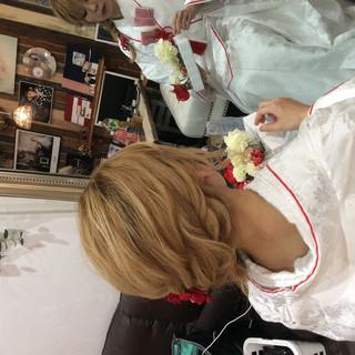 ヘアアレンジ 編み込みヘア 結婚式 外国人風カラー ヘアスタイルや髪型の写真・画像
