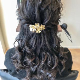 ロング ハーフアップ ヘアアレンジ エレガント ヘアスタイルや髪型の写真・画像