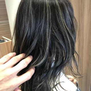 グラデーションカラー セミロング ハイライト ヘアアレンジ ヘアスタイルや髪型の写真・画像