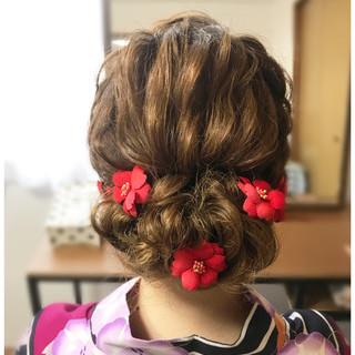 フェミニン ヘアアレンジ 夏 ミディアム ヘアスタイルや髪型の写真・画像
