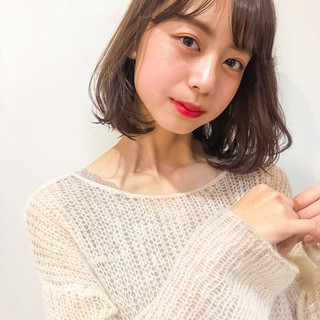 ロブ ミディアム シースルーバング 韓国ヘア ヘアスタイルや髪型の写真・画像 ヘアスタイルや髪型の写真・画像