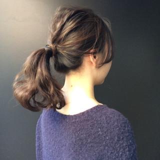 ナチュラル 女子会 ポニーテール ヘアアレンジ ヘアスタイルや髪型の写真・画像 ヘアスタイルや髪型の写真・画像