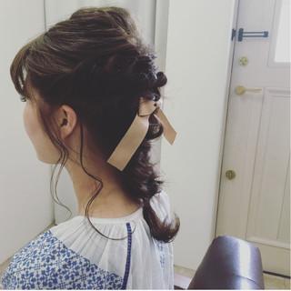 セミロング 後れ毛 大人かわいい アッシュ ヘアスタイルや髪型の写真・画像