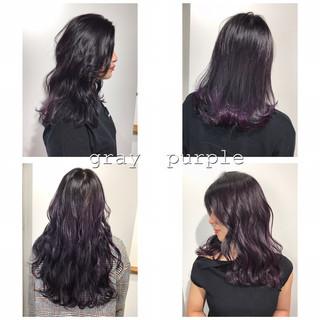 ネイビー ブルーブラック アッシュグレージュ ミディアム ヘアスタイルや髪型の写真・画像
