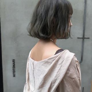アンニュイほつれヘア ボブ ヘアアレンジ 暗髪 ヘアスタイルや髪型の写真・画像