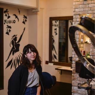 パーマ 暗髪 アッシュ ストリート ヘアスタイルや髪型の写真・画像