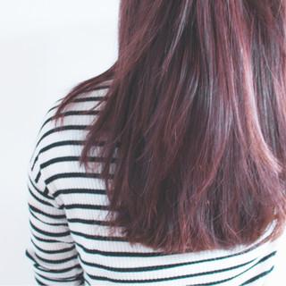 ハイライト ラベンダーピンク ピンク ナチュラル ヘアスタイルや髪型の写真・画像