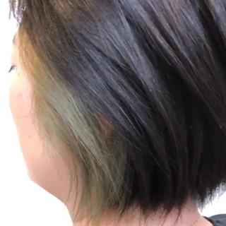ストリート インナーカラー ブリーチカラー ボブ ヘアスタイルや髪型の写真・画像