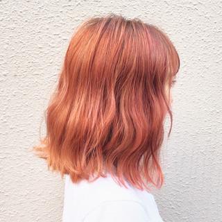 アプリコットオレンジ 外国人風カラー オレンジ ストリート ヘアスタイルや髪型の写真・画像