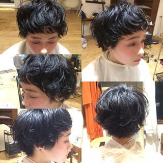 黒髪 ナチュラル ショート 小顔 ヘアスタイルや髪型の写真・画像