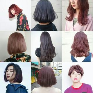 ボブ パープル ダブルカラー ストリート ヘアスタイルや髪型の写真・画像