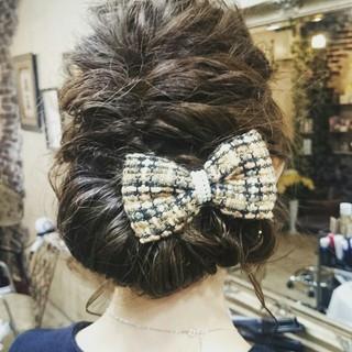 ヘアアレンジ フェミニン ハーフアップ ミディアム ヘアスタイルや髪型の写真・画像