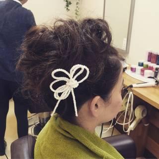 アップスタイル お祭り セミロング ガーリー ヘアスタイルや髪型の写真・画像