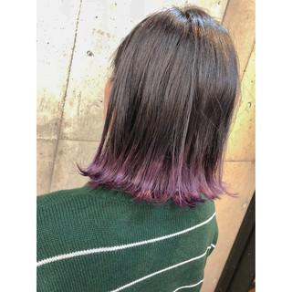 グラデーションカラー ラベンダーカラー 裾カラー ブルーラベンダー ヘアスタイルや髪型の写真・画像