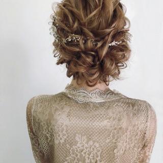 エレガント 結婚式髪型 セミロング 結婚式ヘアアレンジ ヘアスタイルや髪型の写真・画像 ヘアスタイルや髪型の写真・画像