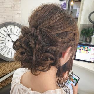 セミロング 結婚式 編み込み 女子会 ヘアスタイルや髪型の写真・画像