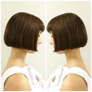 ミニボブ ボブ ワンレングス ショートバング ヘアスタイルや髪型の写真・画像